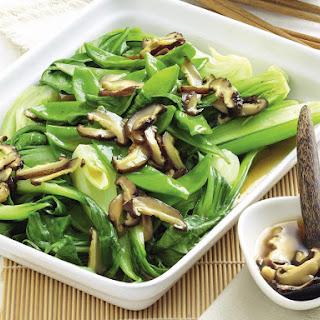 Asian Greens and Chinese Mushrooms.