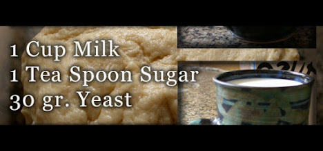 Photo: In a small pot bring the milk to a lukewarm temp. Stir the yeast and teaspoon sugar into the milk and put aside.