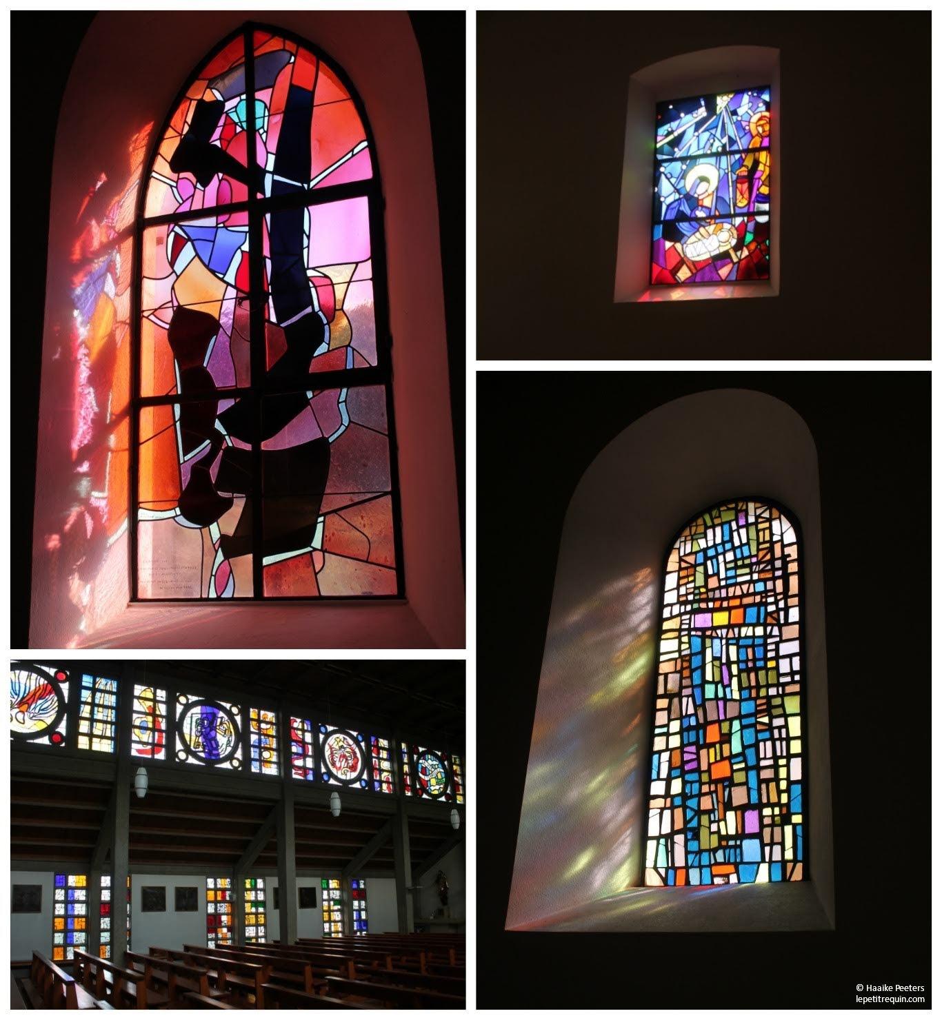 Glasramen kerken van Soubey, Beurnevésin, Courfaivre en Cornol (Le petit requin)