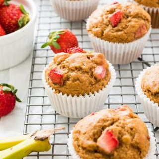 Healthier Strawberry Banana Muffins.