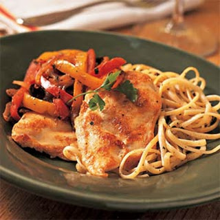 Chicken Breast Fillets with Red and Yellow Peppers