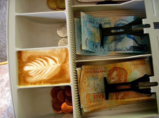 latte art in a cash register