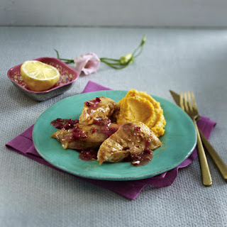 Maple-Glazed Chicken with Sweet Potato Puree and Cranberry Gravy.