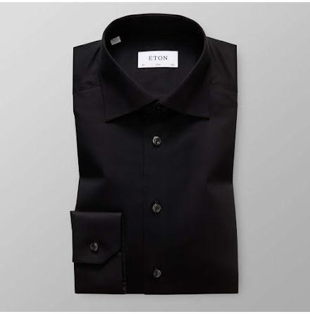 ETON svart signature twill contemporary fit extra long sleeve
