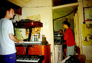 Photo: Michael (Low Key Operations) and Anna (TransCom), recording Cyberia at Harcourt Mansions. Photo by Dennis Remmer.