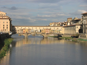 """Photo: Ponte Vecchio, the famous """"old"""" bridge in Florence, is lined with jewelery shops"""