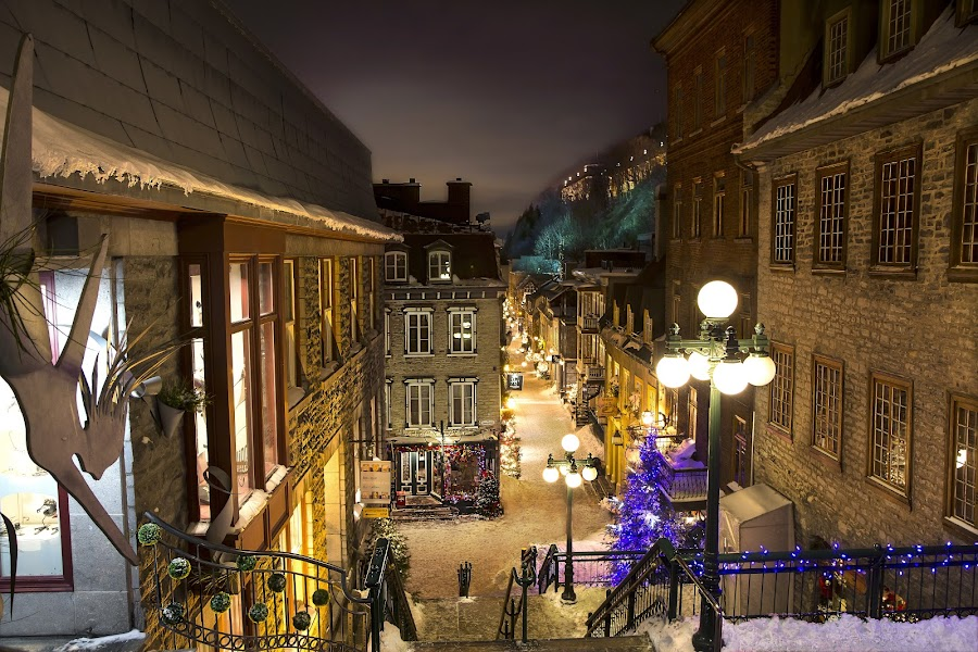 by Maggie B - City,  Street & Park  Historic Districts ( lights, winter, snow, night, architecture, city )