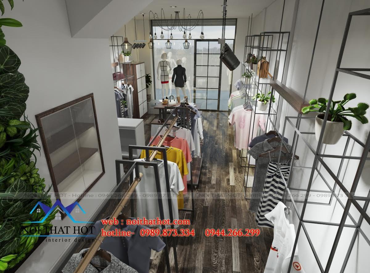 thiết kế shop thời trang thoáng và rộng