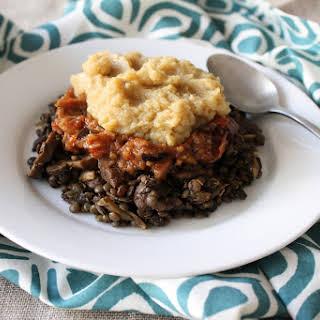 Mushroom & Lentils with Roasted Eggplant & Red Pepper Caponata and Mashed Cauliflower.