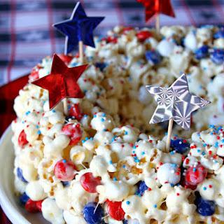 Patriotic Marshmallow Popcorn Cake Recipe