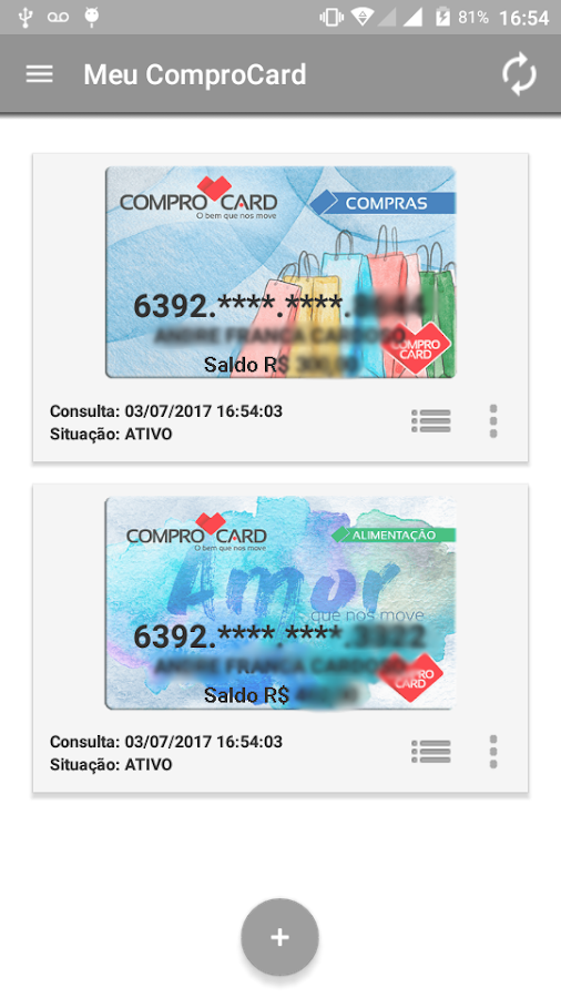 Meu ComproCard- screenshot