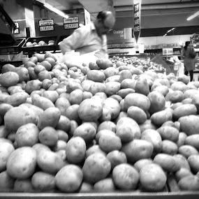 Potato by Naveed Dadan - City,  Street & Park  Markets & Shops ( black and white, art, street, india, travel, people, portrait, man, photography, city )