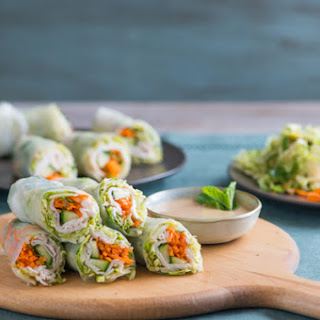 Brussels Sprouts and Turkey Spring Rolls with Peanut Dip.