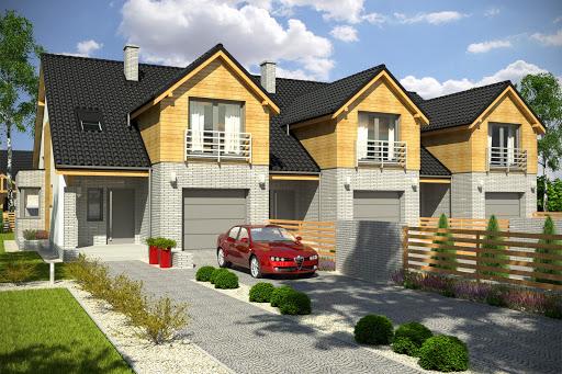 projekt Bazyli z garażem 1-st. szeregówka A-SZ