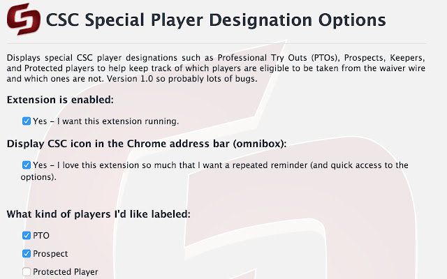 CSC Special Player Designation
