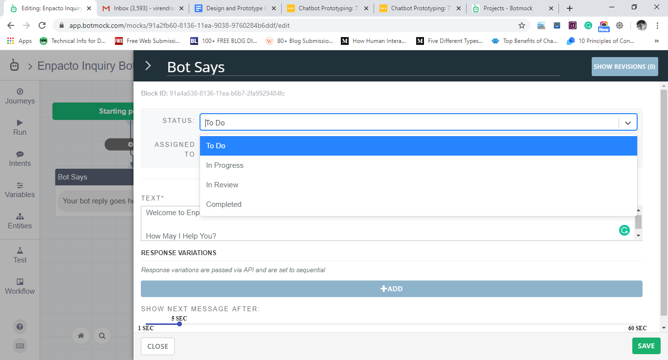 Add your first message of your chatbot in botmock