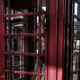 I see you by Francisco Little - Instagram & Mobile Android ( red, street life, streetphotography, portrait, watching, phone booth )