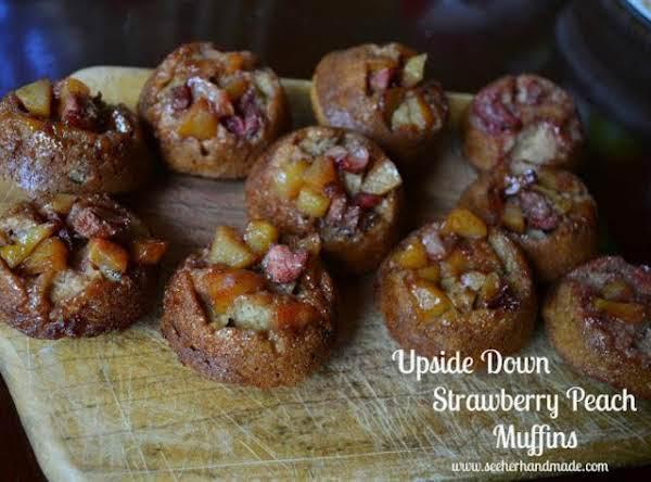 Upside Down Strawberry Peach Muffins