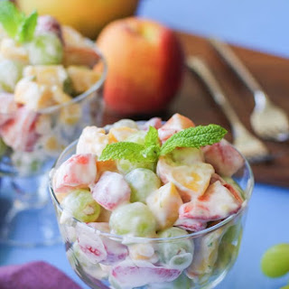 Fruit Salad with Lemon Coconut Whipped Cream.
