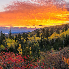 Sawtooth Sunset by David Johnson - Landscapes Sunsets & Sunrises ( landscape photography, fall colors, sunset, grand marais mn, lake superior )