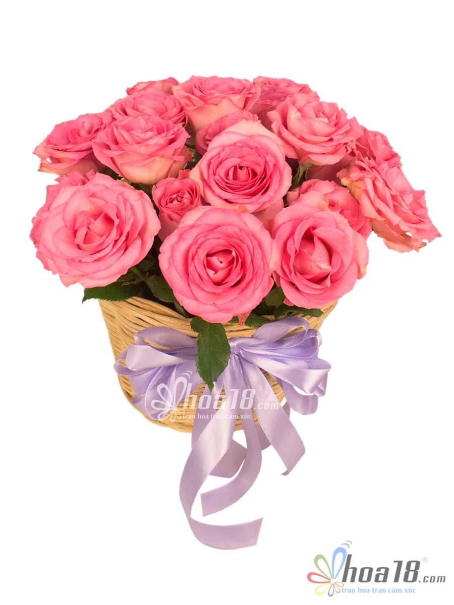 giỏ hoa tặng valentine đẹp
