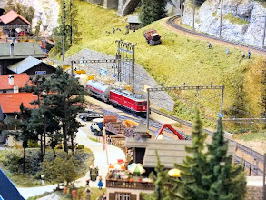 Photo: 016 An aerial view across the wood yard at the larger of the 2 stations modelled on the Bergellerbahn .