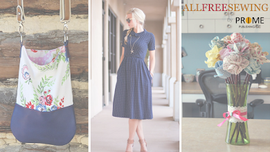 Photo: Projects featured from left to right: Around Town Tiny Tote >> http://buff.ly/1Ud0Pmv The Day Date Dress >> http://buff.ly/1T0snGd Long Stemmed Fabric Flowers >> http://buff.ly/1Ud0Qa0