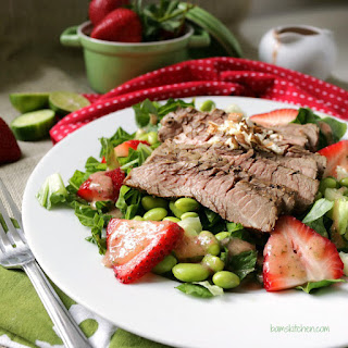 Seared Steak Salad with Strawberry Cucumber Dressing.