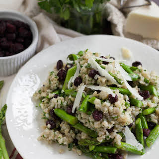 Arborio Brown Rice Spring Salad with Asparagus and Dried Cranberries.