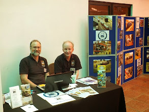 Photo: 006 Geoff Bowyer and William Loyd manning the desk, alongside the Group's photo display board (which I was very chuffed to see, included a couple of photos of my own models!) .