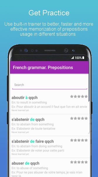 Prepositions - Learn French Language Grammar Free- screenshot