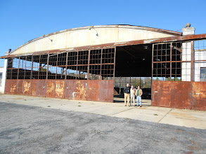 Photo: Cantzon Foster, Xen Motziner, and Mark Williams in front of the Curtis Wright Hangar; it will be a restaurant/lounge some day