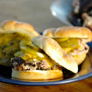 Pulled Pork Sandwiches with Mustard Slaw and Mustard Barbecue Sauce