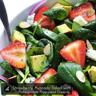 Strawberry Avocado Salad with Pomegranate Poppyseed Dressing.