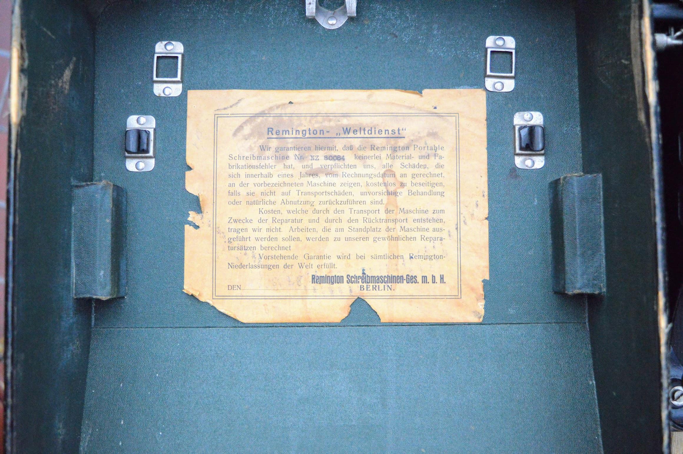 Remington Portable - Hinweis
