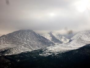Photo: Longs Peak, hidden by the gathering clouds