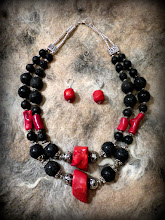 Photo: # 198 LOVE CONQUERS ALL ~ ДВА КОЛЬОРИ МОЇ - red coral, lava rock, silver plate  $130/set   SOLD