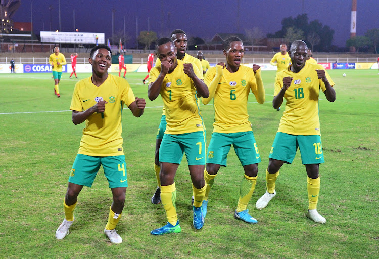 Lebohang Maboe of South Africa celebrates goal with teammates during the 2018 COSAFA plate semifinals match between Namibia and Bafana Bafana at Old Peter Mokaba Stadium, Polokwane on June 5 2018.