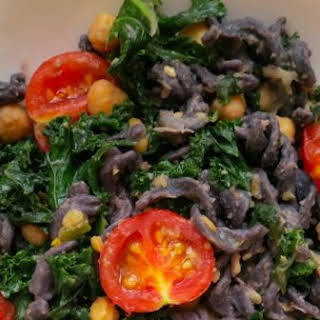 Black Bean Pasta with Kale and Cherry Tomatoes.