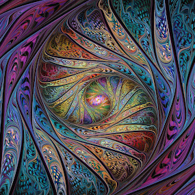Circus Brocade Spiral by Peggi Wolfe - Illustration Abstract & Patterns ( abstract, wolfepaw, unique, bright, color, spiral, fractal, digital, circus, brocade )