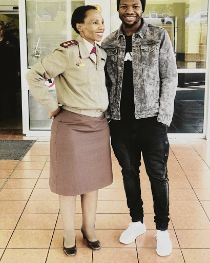 Bloemfontein Celtic striker Tshegofatso Mabasa with his mother Tumi Mabasa.