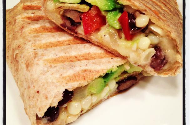 Pressed Bean, Veggie & Cheddar Burrito Recipe