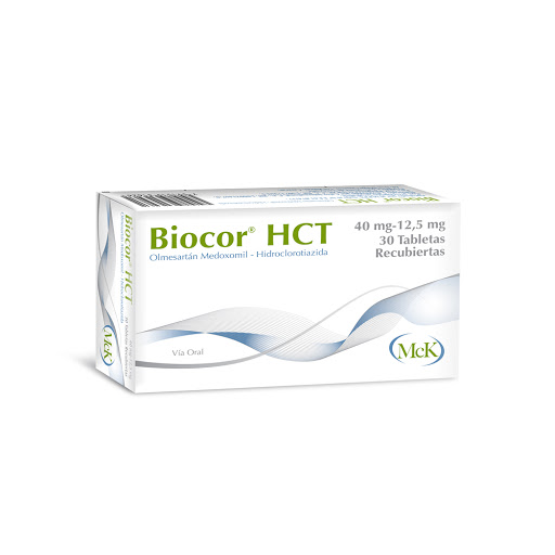 Olmesartán Medoxomil + Hidroclorotiazida Biocor HCT 40/12.5MG x 30 Tabletas MCK Calox