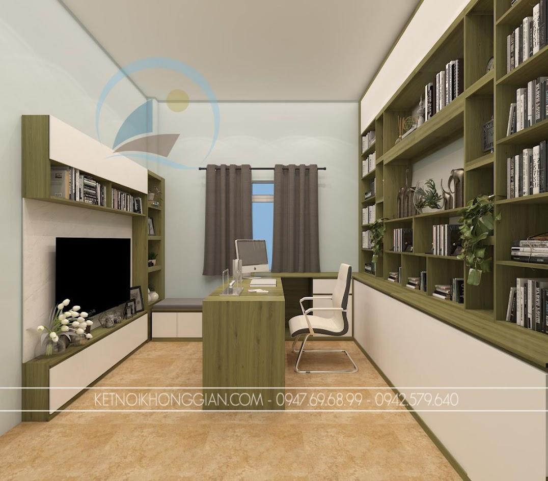 thiết kế nội thất phòng đọc sách kiêm phòng làm việc 3