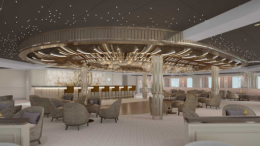 Meet interesting guests over cocktails at the Observation Lounge on Seven Seas Splendor.
