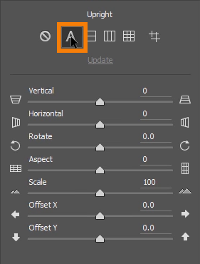 Use the Automatic Upright by clicking on the A icon to allow Photoshop to straighten the perspective of your image automatically.