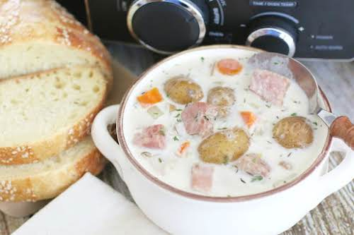 "Click Here for Recipe: Crock Pot Potato and Ham Soup ""A hearty,..."