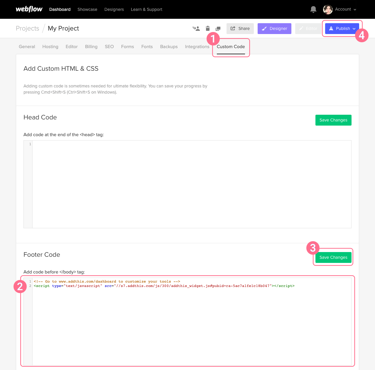 Image 2: Embed the code in your project settings
