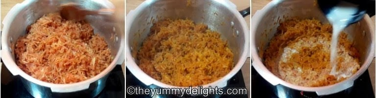 step by step collage of sauteeing the carrots & addition of milk to make carrot halwa