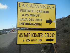 Photo: Sign marking the lava flow from the 2001 eruption